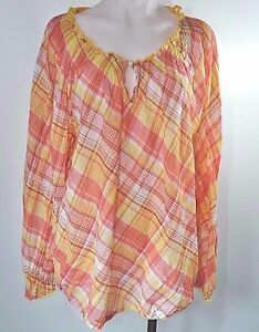 85cee0b40fe Image is loading Lane-Bryant-Yellow-Pink-Plaid-Peasant-Blouse-Keyhole-