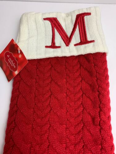"""Nicholas Square 21/""""  Initial M     Red Kohl's Cable Knit Christmas Stocking St"""