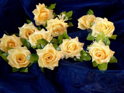 Seidenblumen 12 x Rose mit Blattwerk creme//gelb Kunstblumen