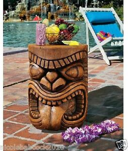 Image Is Loading Hawaiian Tiki Totem Pole Sculptural Table Tropical Luau
