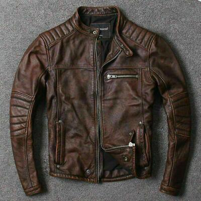 Mens Vintage Biker Brown Cafe Racer Leather Jacket