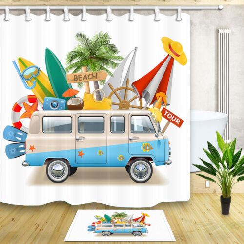 Retro Minivan With Beach Shower Curtain for Bathroom Waterproof Polyester Fabric