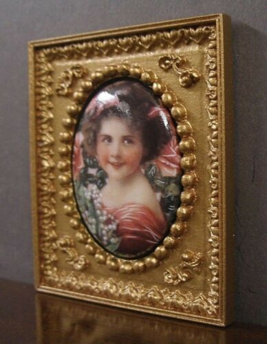 """FRAMED  PORCELAIN  PICTURE  /"""" Victorian Girl /""""  Dollhouse ~ 1:12 scale ~ Artist"""