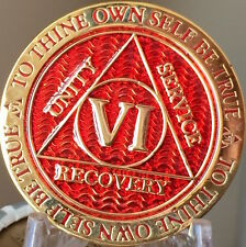 6 Year AA Medallion Red Gold Plated Alcoholics Anonymous Sobriety Chip Coin Six