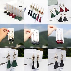 Fashion-Boho-Wood-Flower-Shell-Earrings-Triangle-Dangle-Drop-Hook-Women-Earrings