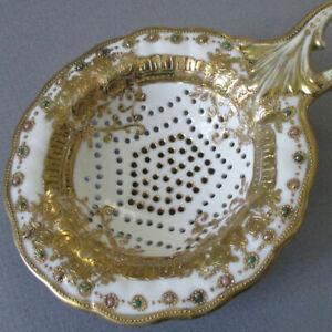 Antique HP Porcelain Tea Strainer Lush Gold MORIAGE Pink + Turquoise Dot Jewels