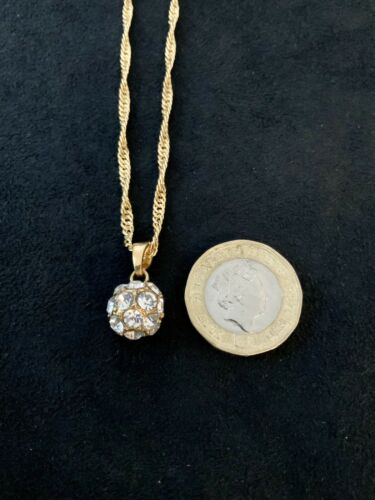 22K 22ct Gold Filled Chain Necklace With Crystal Pendant Ball Pendant