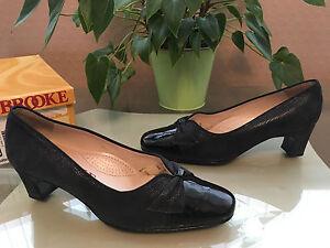 Ladies-Van-Dal-Brooke-Jean-navy-patent-leather-suede-court-shoes-UK-4-E-EU-37