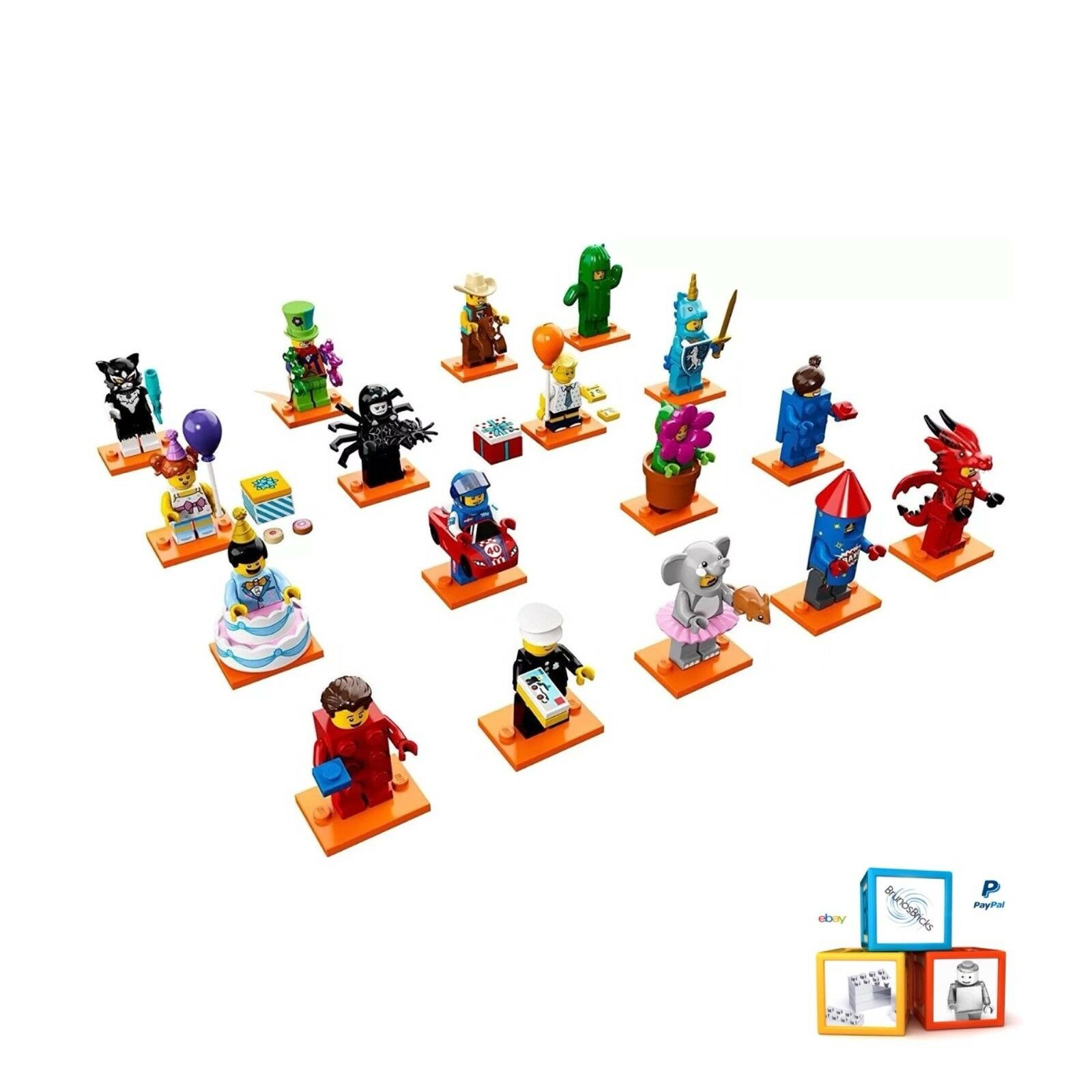 LEGO Minifigure Series 18   Complete Set of 17 - 71021 Includes Policeman - NEW
