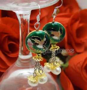 SALE-18mm-Dark-green-Round-Cloisonne-amp-6-7mm-White-Natural-Pearl-earring-ear649