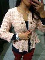 Zara Pink Boucle Frayed Fantasy Millie Blazer Jacket Very Rare Size SMALL S NEW