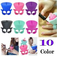 Silicone Nail Art Polish Holder Flexible Durable Wearable Finger Bottle Stand