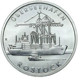 Gedenkmuenze-DDR-5-Mark-1988-A-Uberseehafen-Rostock-Stempelglanz-UNC