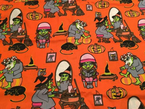 Cotton Fabric By The Yard Halloween Witch Getting Ready For Trick Or Treat