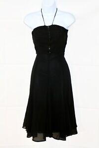 KAREN-MILLEN-Black-Silk-Floaty-Halter-Neck-Cocktail-Midi-Dress-Uk-10