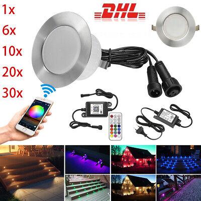 Ø30mm-Ø61mm Bluetooth RGB//RGBW LED Bodeneinbaustrahler Terrasse Außenlampe Küche