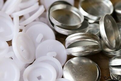 30L Button Blanks Cover Non Astor Sets White Metal Plastic 19mm Upholstery Sew
