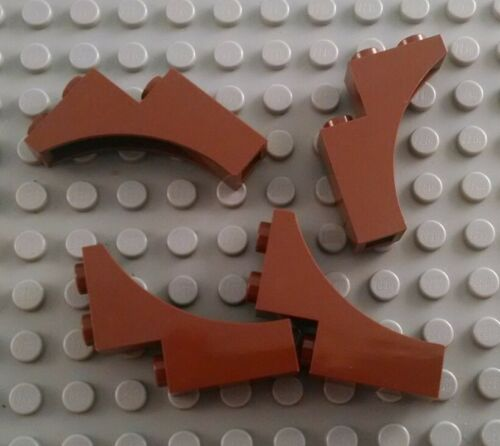 New LEGO Lot of 4 Reddish Brown 1x3x3 Arch Brick Pieces