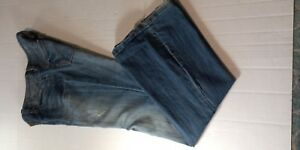 Refuge-Woman-s-Opal-Ultra-Low-Rise-Flare-Leg-Blue-Jeans-Size-7L-Distressed