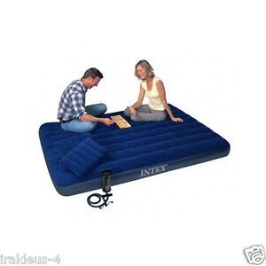 Air Bed Blue Camping Matress Portable With 2 Pillows Intex