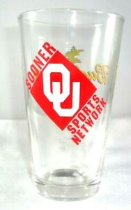 RARE! OU SOONER Sports Network BUDWEISER King of Beers Beer Glass 16 oz Oklahoma