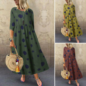VONDA Damenmode Gepunktet Ärmellos Kleid Maxikleid Abendkleid Sommer Beach Rock