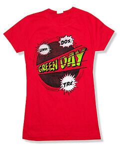 Green-Day-Power-Up-Tour-Girls-Juniors-Red-T-Shirt-New-Official-Band-Merch