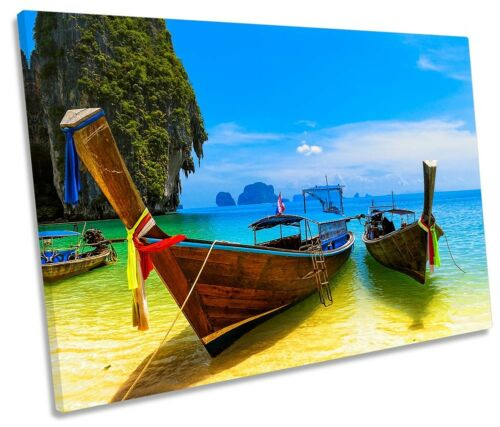 Thailand Beach Boats Picture SINGLE CANVAS WALL ART Print