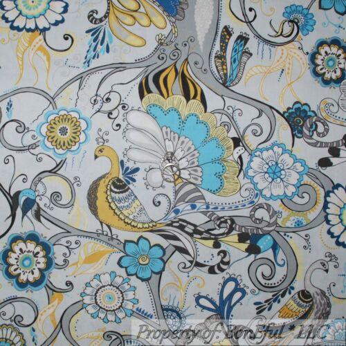 BonEful Fabric FQ Cotton Quilt Gray Blue Aqua B/&W PEACOCK Bird Flower Gold Retro