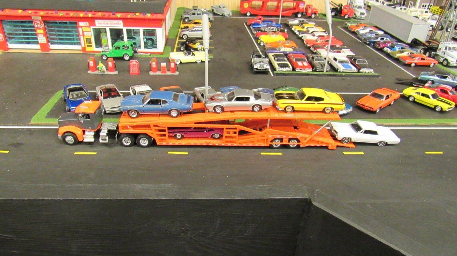 SPECCAST Orange PETE 385 SEMI CAR TRANSPORT TRANSPORTER CARRIER TRAILER 1 64 MTB