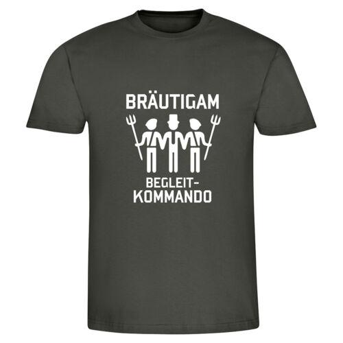 "JGA Herren Männer T-Shirt /""Bräutigam Begleit-Kommando/"" Fun-Shirt Junggesellenab"