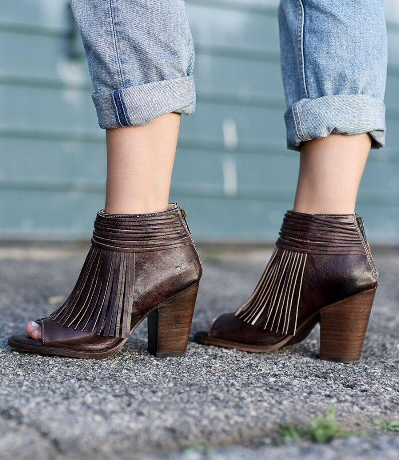 Bed Stu Olivia Brown Rustic Distressed Fringed Leather Booties 8.5M(9-9.5)  255