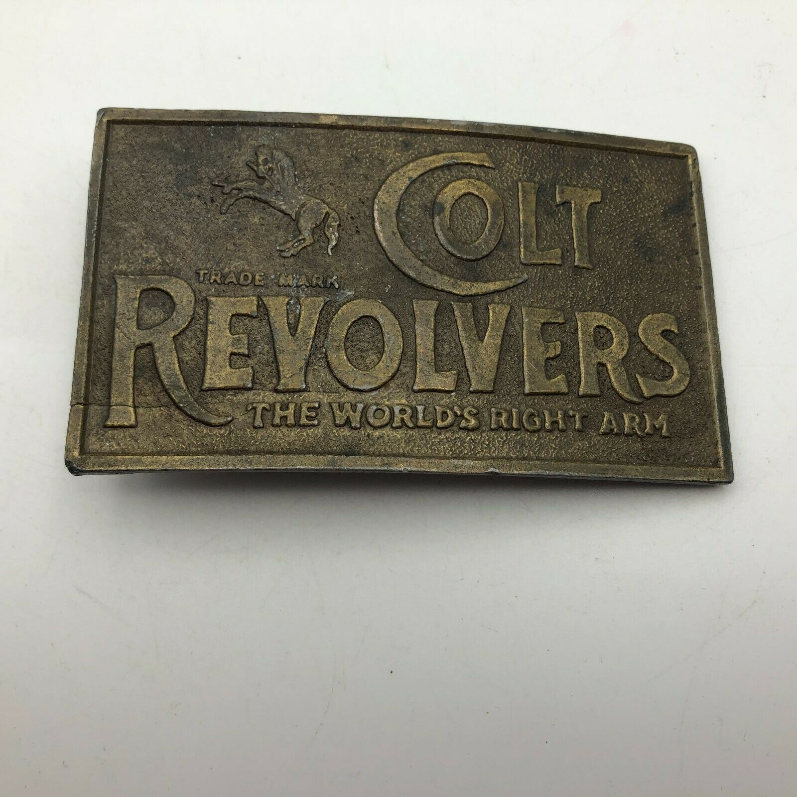 Vtg Colt Revolvers Worlds Right Arm Belt Buckle Firearms Advertising Lewis XY3