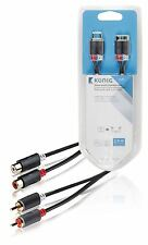 Konig Stereo audio extension cable 2x RCA male to 2x female 2m grey