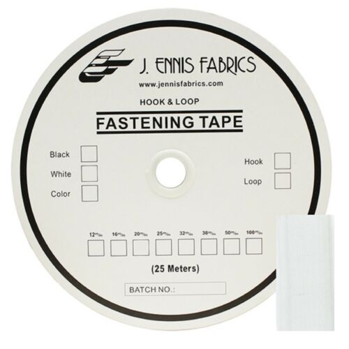 """1/"""" Velcro Hook White Tape Polyester Sew On 1 Roll 25 yard roll"""