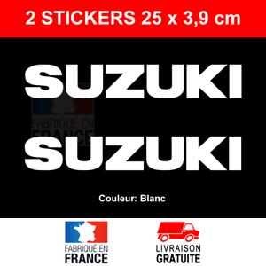 2-Stickers-SUZUKI-Blanc-Autocollants-Moto-Adhesifs-Becane-Scooter-25x3-9-cm