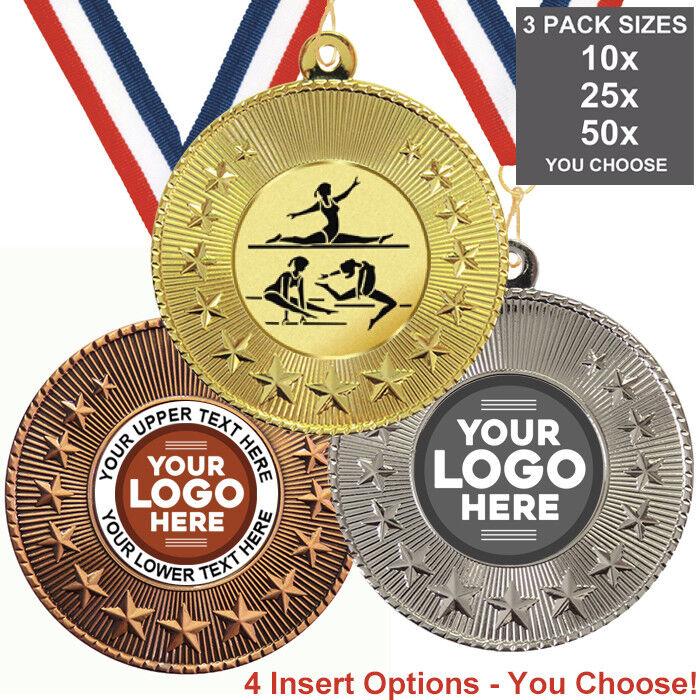 Ginnastica Multi Donna medaglie in metallo 50 mm, confezione da 10 nastri inserti proprio logo