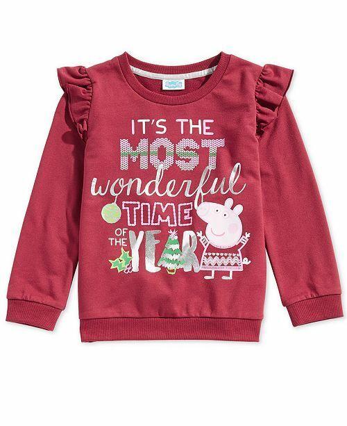 Peppa Pig Little Girls Ruffle-Trim Sweatshirt Red 4