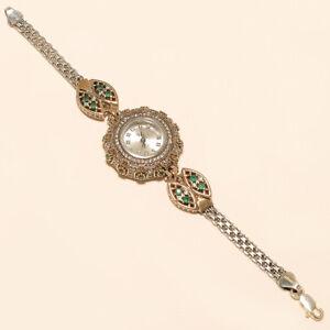 Natutral-White-Topaz-Emerald-Wrist-Watch-925-Sterling-Silver-Turkish-Jewelry-New