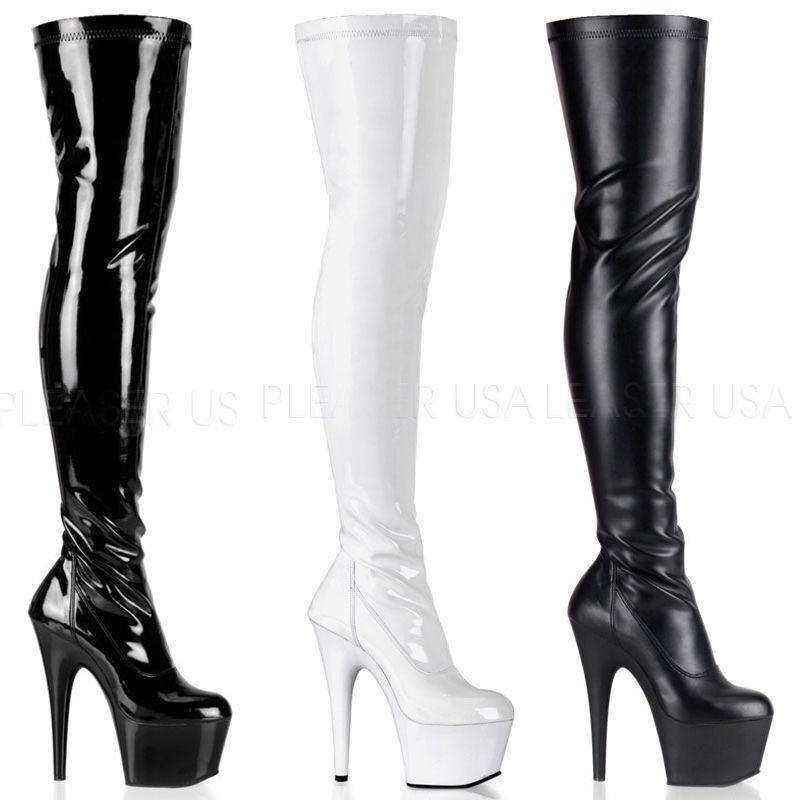 Grandes zapatos con descuento Adore-3000 sexy Pleaser Damen High Heels Stretchlack Overkneestiefel Gr 36-45
