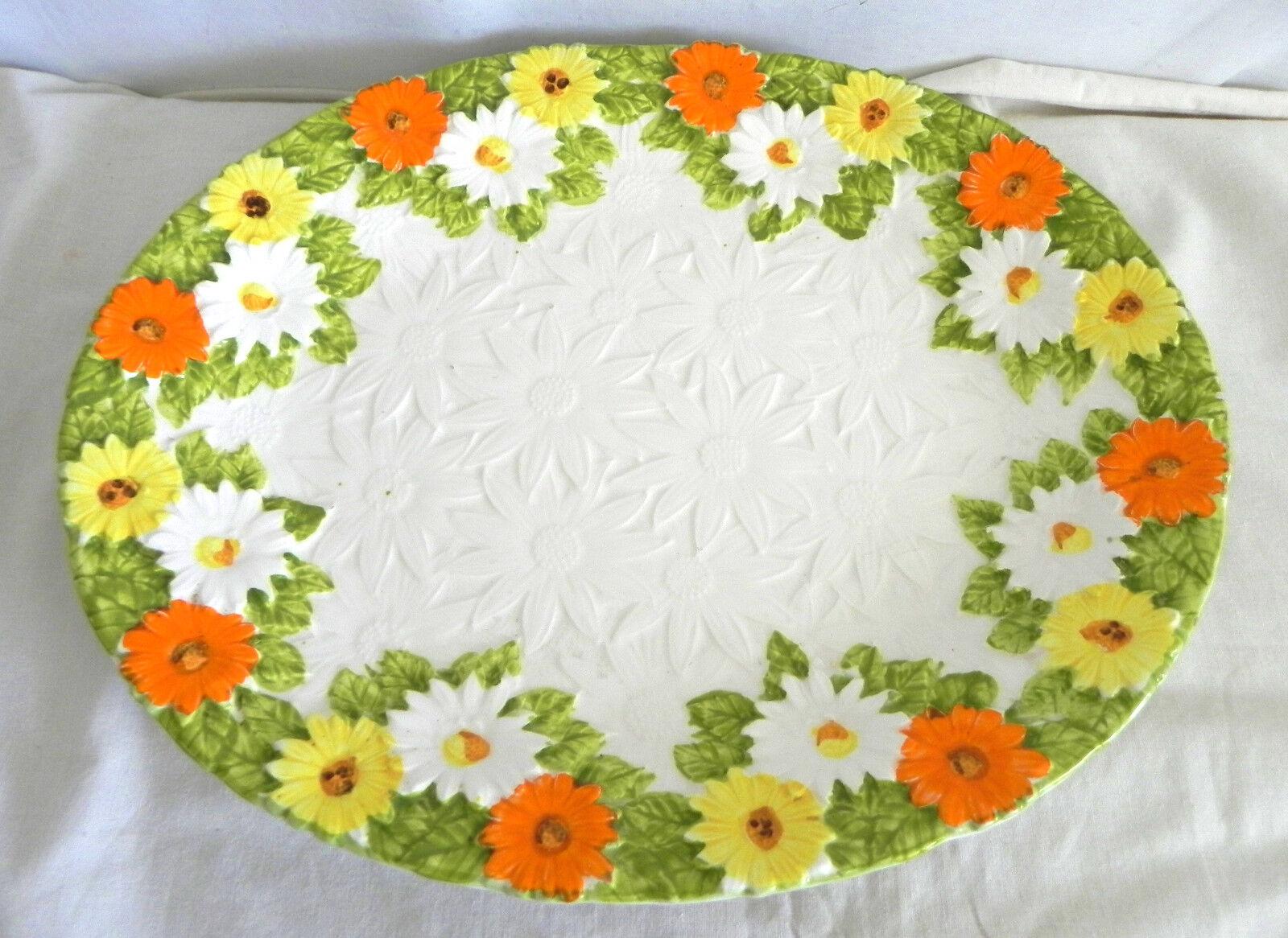 Vtg Lefton Platter Floral Ceramic Made in Japan Size 14.25 x12