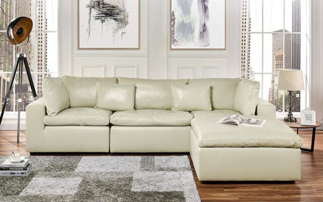 Leather Lounge Sectional Sofa, L Shape Couch with Wide Chaise (Beige)