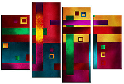 LARGE ABSTRACT CANVAS PICTURE WALL ART MULTI COLOUR PICTURE SPLIT PANEL 100 cm