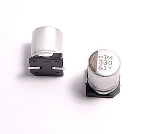Details about (10PCS) 330UF 6 3V SMD ALUMINUM ELECTROLYTIC  CAPACITORS 8X10MM