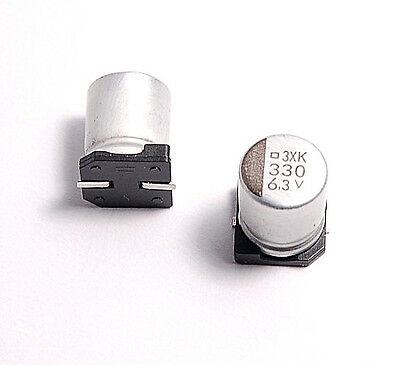 10PCS 330UF 6.3V SMD ALUMINUM ELECTROLYTIC CAPACITORS.8X10MM.