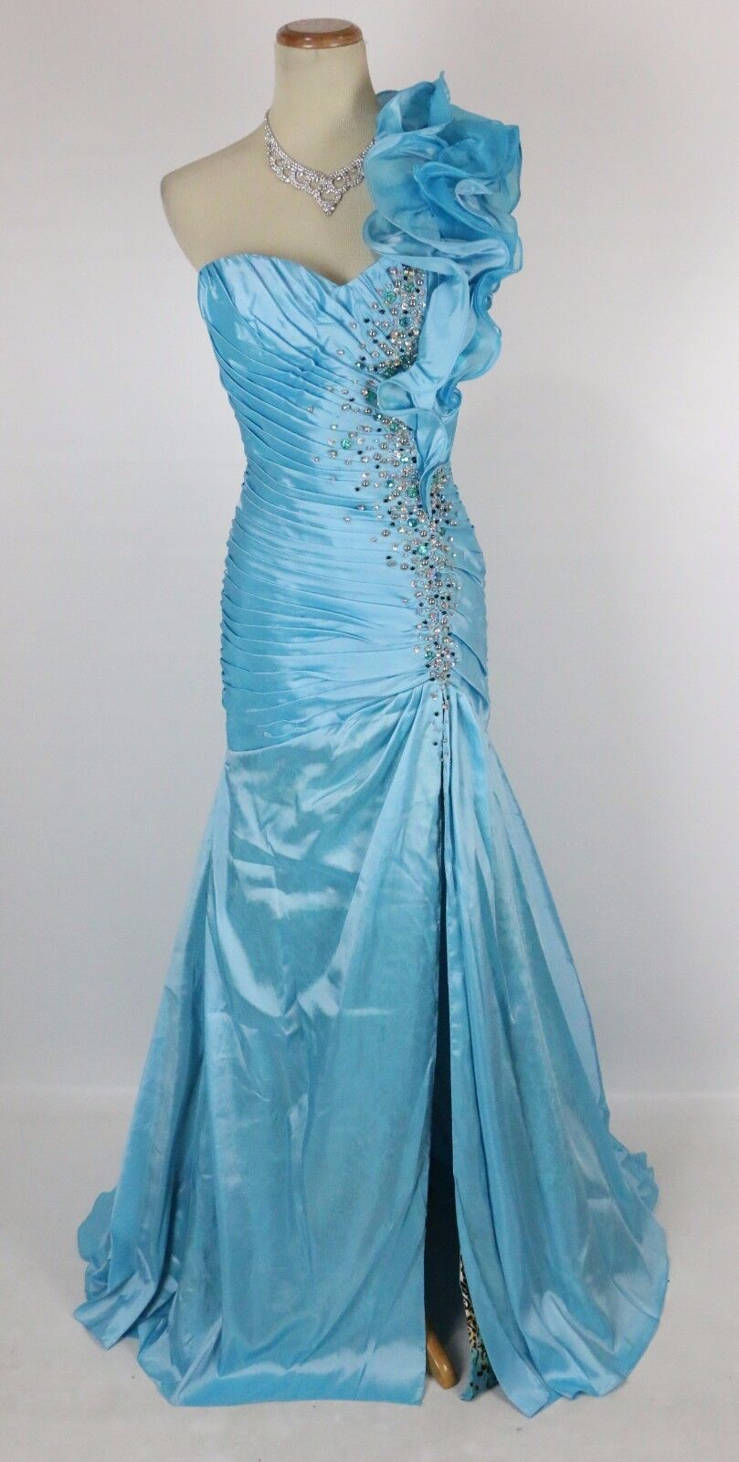 Size 10 Tony Bowls  500 Long Long Long Gown Prom Formal Mermaid Turquoise 1 Shoulder Dress dbb600
