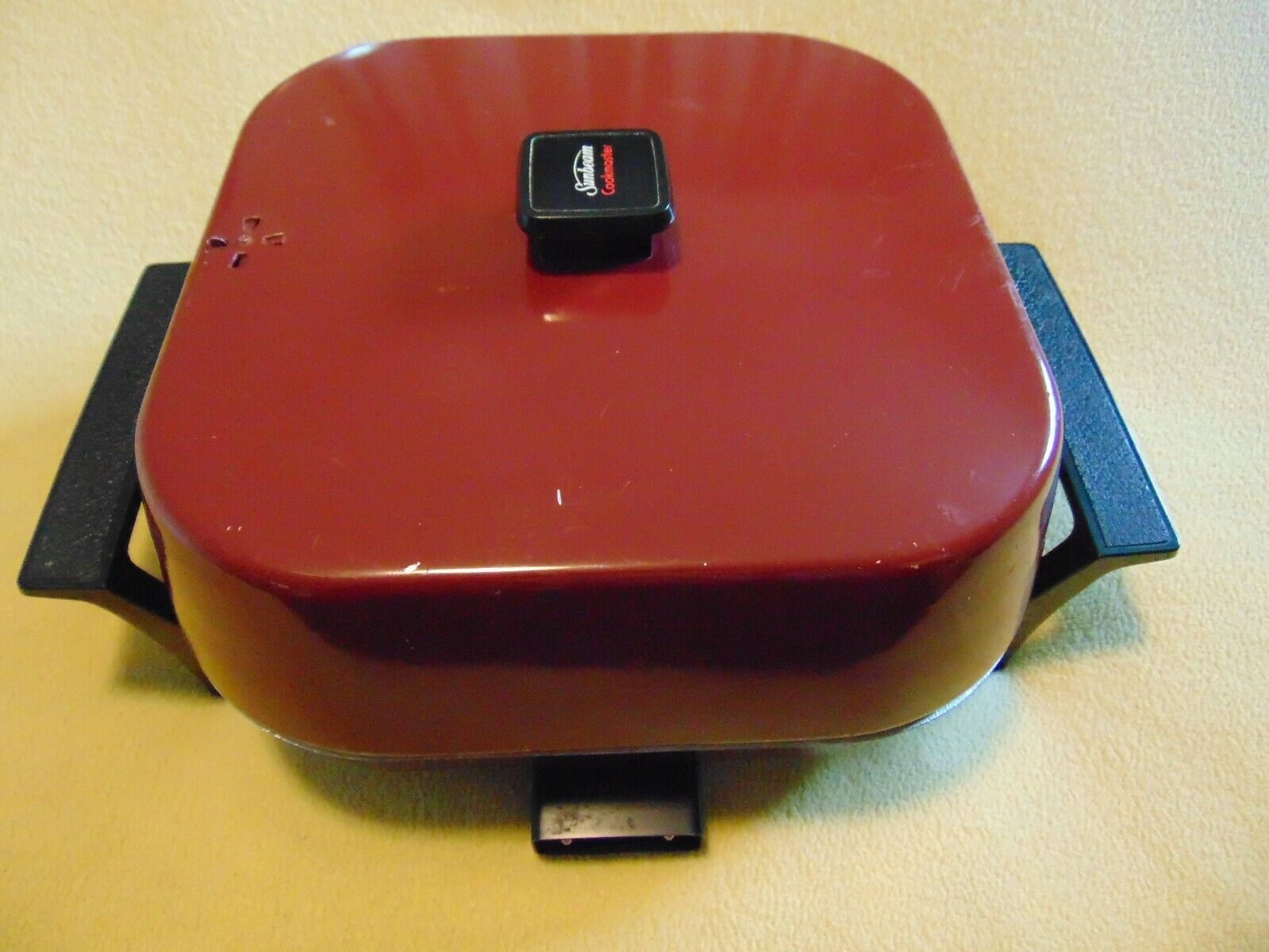 VTG SUNBEAM COOKMASTER RED ELECTRIC FRY PAN 12  HIGH DOME SKILLET 425A series A