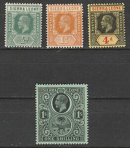 SIERRA LEONE 1912 KGV ELEPHANT RANGE TO 1/- WMK MULTI CROWN CA