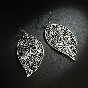 Details zu elegantes Paar Ohrringe Silber plattiert Blatt Design Antik Silber edel stylisch