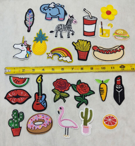 24 Count Variety Small Decorative Iron-On Patches